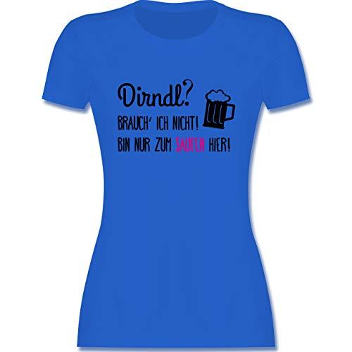 Oktoberfest & Wiesn Damen - Dirndl? Brauch' ich Nicht! - XL - Royalblau - Tshirt Dirndl - L191 - Tailliertes Tshirt für Damen und Frauen T-Shirt