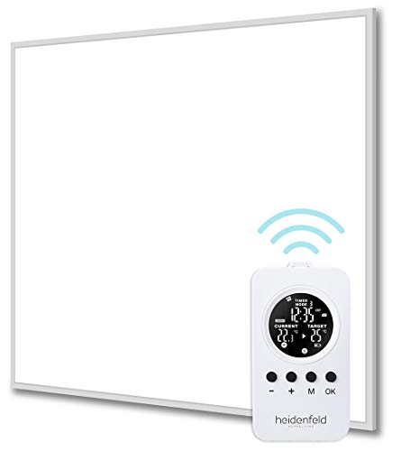 Heidenfeld Infrarotheizung HF-HP100/110 Weiß - 10 Jahre Garantie - inkl. Thermostat - Deutsche Qualitätsmarke - TÜV GS - 300-1200 Watt - 3-28 m² (HF-HP110 1200 Watt)