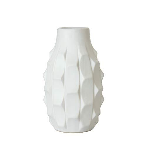 D'vine Dev Geometric Design Vase, Decorative Flower Vase, 7 Inch, Matte White
