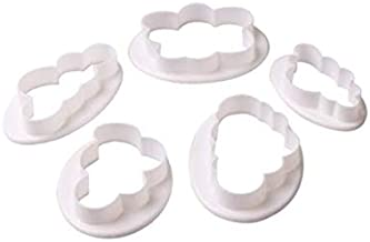 5pcs Cloud Fondant Cake Decoration Mold Sugarcraft Icing Cutters Bakeware Gumpaste Modelling Tools for Birthday Party Wedding Christmas Valentine Day Gifts Accessories Supplies