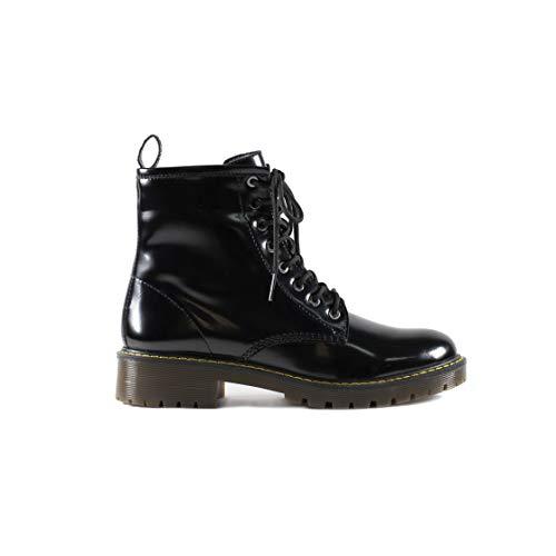 Society Gillio – Zapatos Mujer Botas Militares Corte Sintético Color Negro Smith – Talla 25