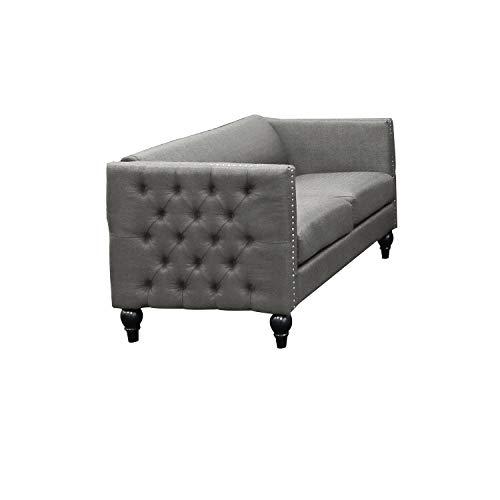 Best Master Furniture Tufted Living Room Loveseat Grey