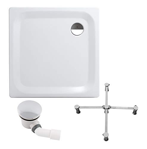 Calmwaters® - Essential Soft - Bodengleiche Dusche in 90 x 90 x 2,5 cm im Komplettset mit Wannenfuß und Ablaufgarnitur - 99000015