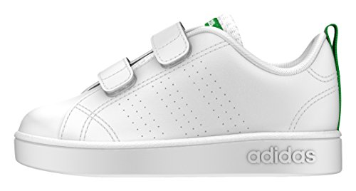 Adidas Unisex-Kinder Vs Advantage Clean Sneakers, Weiß (Footwear White/Footwear White/Green), 26 EU