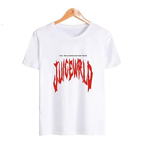 SHINEE Unisex Juice Wrld T-Shirt Hip Hop Grafik Gedruckt Kurzarm T-Shirt T-Shirts Geschenk Für Erwachsene,Weiß,S