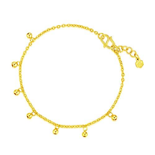 YJZW Simple Oro Amarillo De 24k Finos De Las Mujeres Will Campanas, Oro Amarillo De 24k Ajustable (Cadena De Extensión De 16,5 + 2 Cm / 6,4 + 0,7 Pulgadas)