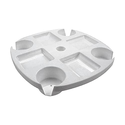 Base Paraguas Bandeja de plástico Redonda de Mesa de Playa con Tazas de Taza de Taza de Tazas para jardín Piscina Muebles de Patio para al Aire Libre (Color : White)
