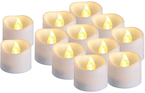 12Pcs Timer Candles, Battery Operated LED Decorative Flameless Candles Flickering Timed Tea Light, Ideal for Christmas Thanksgiving Wedding Party Home Decor