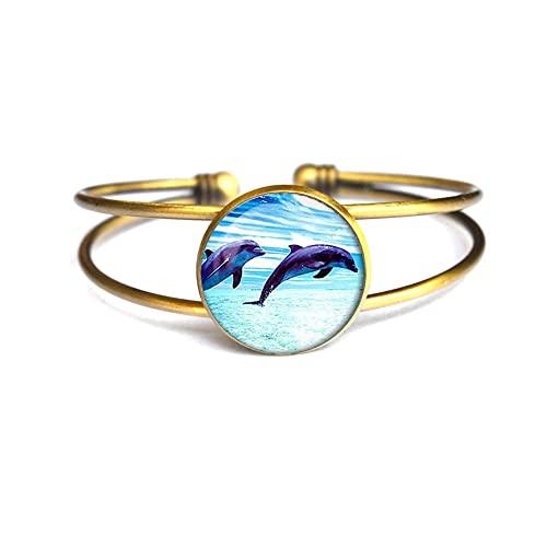 Pulsera de delfines con delfín, pulsera de delfines. Pulsera de animales, cierre de langosta, pájaro, cristal cabujón pulsera regalo, PU097
