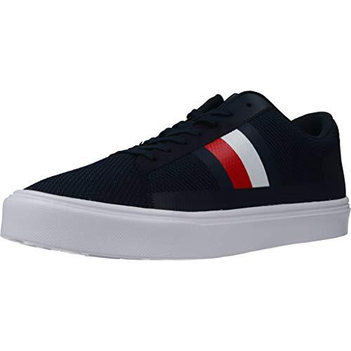 Tommy Hilfiger Herren Lightweight Stripes Knit Sneaker, Blau (Desert Sky Dw5), 44 EU