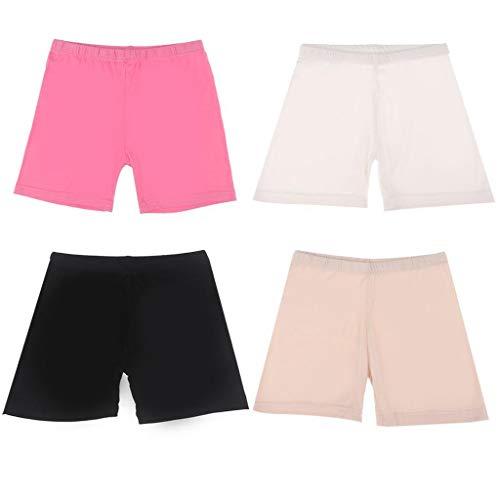 4 Stück Tanz-Shorts für Mädchen, Fahrrad-Slip, Tanz, Fahrrad-Shorts, kurz, atmungsaktiv und sicher für Sport oder unter Röcken, 4 Farben