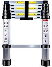 YABAG Telescopische ladder van aluminium, uitschuifbaar, multifunctioneel, draagbaar, verstelbaar, met anti-slip treden, maximale belasting 150 kg (2 m)