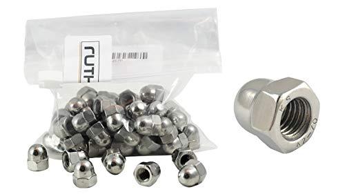 ruthex Hutmuttern M4 (50 Stück) | V2A Muttern Edelstahl | DIN 1587 | Schlüsselweite 7mm | Chrom(VI) - frei