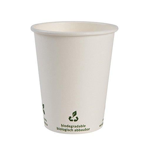 BIOZOYG Bio café en gobelet à Papier I Vaisselle compostable et biodégradable I Tasse en Carton à Boire I Café jetable Blanc avec Impression Icone 50 pièces 200ml 8 oz