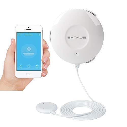 BANAUS FD10W Wassermelder,Push-Benachrichtigungen auf Smartphones,Kein teurer Hub erforderlich,Batteriebetriebener Betrieb, Keine Verkabelung erforderlich,Einfaches Plug & Play