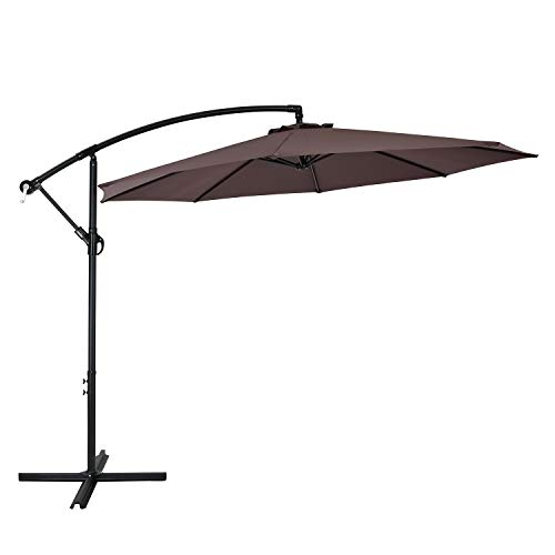 AMTALL 10ft Patio Offset Umbrella Cantilever Umbrella Outdoor Hanging Market Umbrella with Crank & Cross Bases-(Coffee)