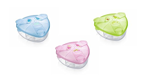 MAM Boîte Doseuse de Lait – boîte doseuse transparente pour lait en poudre pour bébé, facile à remplir et emporter, 3 compartiments – coloris aléatoire