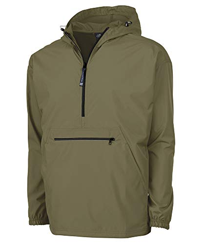 Charles River Apparel Pack-N-Go Wind & Water-Resistant Pullover (Reg/Ext Sizes), Olive, L
