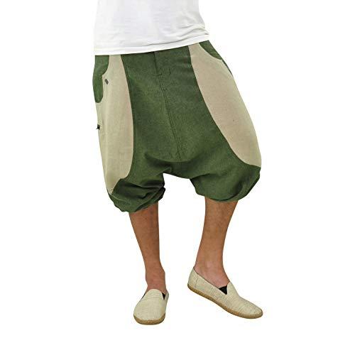 virblatt - Kurze Haremshose Herren | Hanf & Baumwolle | Aladinhose Herren Kurz Sommerhose Herren - Kleine Frohnatur grün L-XL grün