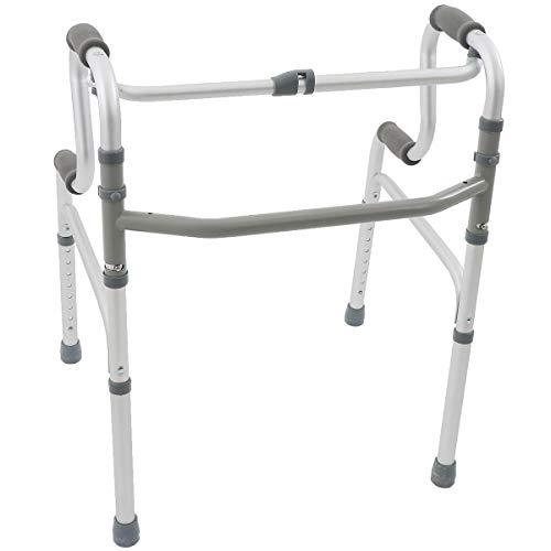 楽々健 折り畳み式歩行器 2段階手すり 交互式 アルミ製 8段階高さ調節可能