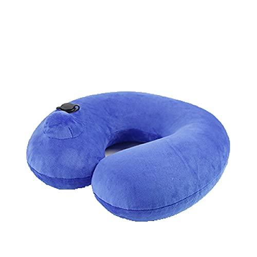 Almohada Inflable En Forma De U Almohada Viaje Inflable Cojin Cuello Almohada Cervical Viaje Viene con Estuche De Transporte Tapones para Los OíDos Orejeras Almohada De Viaje Almohada Inflable Azul