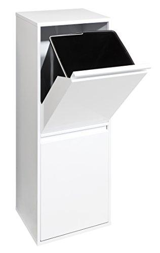 ARREGUI Basic-Mülleimer aus Edelstahl mit 2Fächer und 2kabelwannen, weiß