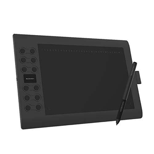 GAOMON M106K PRO - 10 Zoll Grafiktablett mit 8192 Druckstufen Battrielosem Stift und 12 Tasten, kompatibel mit Windows/Mac/Android Handy