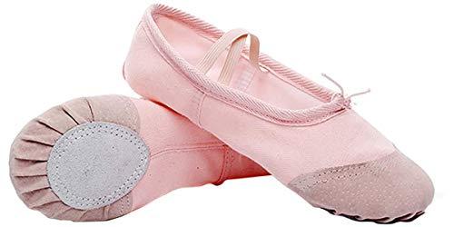 Zapatillas de Ballet con Suela Partida, Lona Transpirable con Punta en Cuero, Gomas de Sujeción Precosidas (22, Rosa Claro)