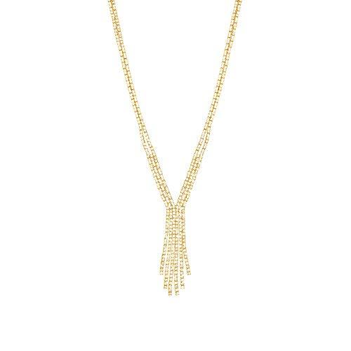 Stroili - Collana in metallo dorato con multifili con strass per Donna