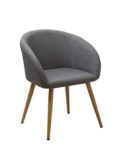 Esszimmerstuhl aus Stoff (Leinen) Farbauswahl Retro Design Stuhl mit Rückenlehne Metallbeine Holzoptik WY-8023, Farbe:Grau, Material:Stoff