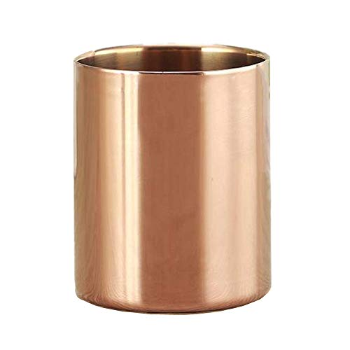 Rose Gold Pen Holder Cup Pencil Pot Cosmetic Brushes Holder 3mm Dual-Layer Super Thick Rose Golden Makeup Brush Holders Flower Vase for Office Home Desk Accessories Organizer (Rose Gold)