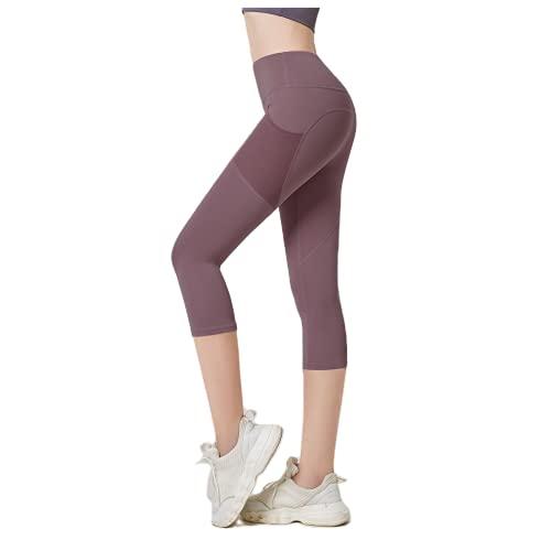 QTJY Pantalones de Yoga de Levantamiento de Cadera de Cintura Alta para Mujer, Polainas de Estiramiento de Ejercicios de Push-up de Ejercicio de Fitness de Gimnasio C XL