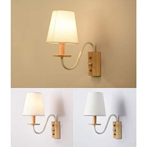 IN Gyy Accueil Hôtel Éclairage Gracieux Nordic Wood Lampe Murale Simple Simple Creative Salon Chambre Chevet Allée Décoration Night Light,Blanc