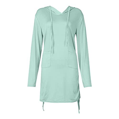 CYGGA Dam sommar/höst långärmad klänning med huva solskyddsmedel klänning väska tröja hoodie klänning midja sweatshirt, Minegrön, S