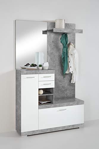 deine-tante-emma 4020-1000 Bristol Beton Nb. / weiß Edelglanz Garderobe Kompaktgarderobe Diele mit Spiegel und Schuhkommode ca. 120 cm FMD