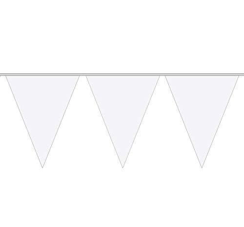 Folat Wimpelkette, Wimpelgirlande, 10Meter, mit 15weißen Wimpeln, Partydekoration