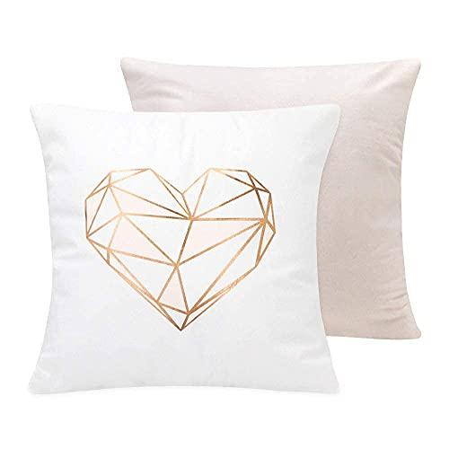 SUMGAR Funda de Almohada de Tiro de Oro Rosa Funda de Almohada Cuadrada geométrica de corazón Rosa Fundas de cojín Decorativas Sala de Estar Sofá Cama Coche 45x45cm Juego de 2