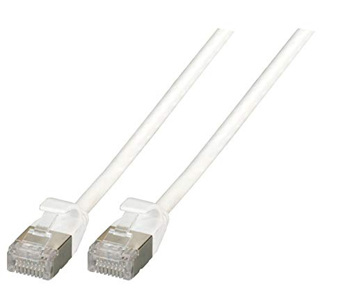 EFB-Elektronik RJ45 Patchkabel U/FTP, Cat.6A, Rohkabel TPE 4,0mm ultraflex, 0,5m, weiß