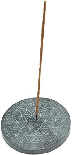 Räucherstäbchenhalter Blume des Lebens 10 cm Speckstein grau, Räucherstäbchen Halter Räuchern Räucherzubehör Räucherteller