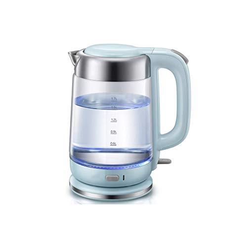 XJJZS Blue Glass Hervidor eléctrico, 1,7 litros de Agua Caliente Caldera de té, de Acero Inoxidable Interior Tapa y el Fondo