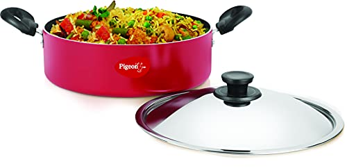 Pigeon Nonstick Dutch Oven - 4.2 Qt (4 Liters) - Kadai Pan with Stainless Steel Lid - PFOA Free, Scratch Resistant Nonstick Cooking Pot - Red
