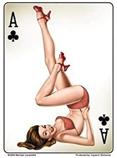 Michael Landefeld - Retro Ace of Clubs Pin-up Girl - Sticker / Decal