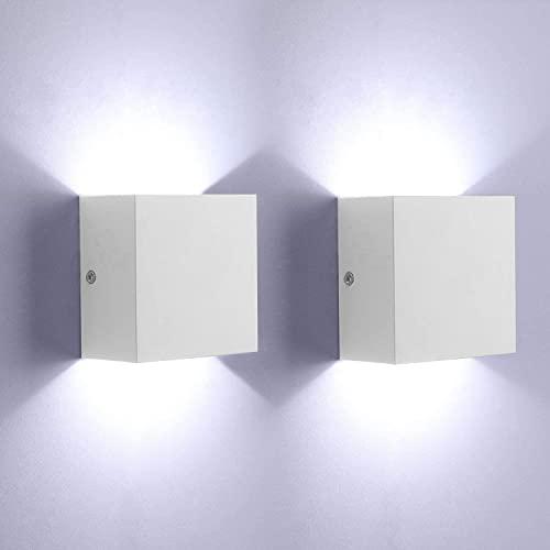 Glighone Lampada da Parete Led Interno, 2 Pezzi Bianco freddo 6000K LED Applique da Parete Moderna,Up Down Lampada a Muro in Alluminio, Perfetto per Soggiorno Camera da letto Corridoio Bagno (Bianco)