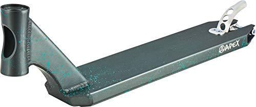 Apex Pro Stunt-Scooter Deck 580 Splash - Tabla para patinete (49 cm), color gris y turquesa