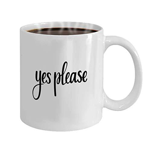 Kaffeebecher weiße Keramik lustiges Geschenk Eibe bitte Vektor Kalligraphie Phrase