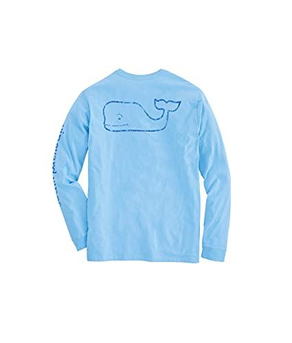 vineyard vines Men's Long Sleeve Vintage Whale Pocket T-Shirt, Jake Blue, Large
