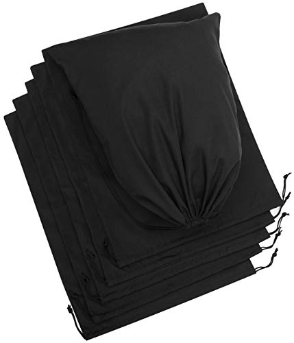 Cotton Blend Drawstring Bags 6 Pack For Storage Pantry Gifts 14 x 17 inch 6 pack Black
