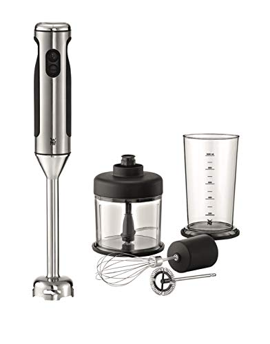 WMF LINEO Edelstab Stabmixer 4 in 1: Pürierstab, Schneebesen, Milchaufschäumer, 700 Watt, inkl. Mixbehälter (1l), cromargan matt/silber