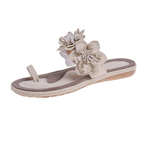 LHWY Sandalias Mujer Verano 2020 Chanclas de Planas Antideslizantes Suela Blanda Zapatos de Playa y Fiesta (41EU, Beige)