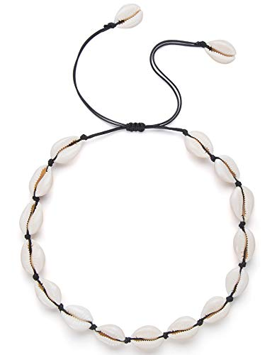Nackiy Seashell Necklace Choker for Women Summer Hawaiian Style Braided Rope Natural Shell Necklace(Black Braided Rope)